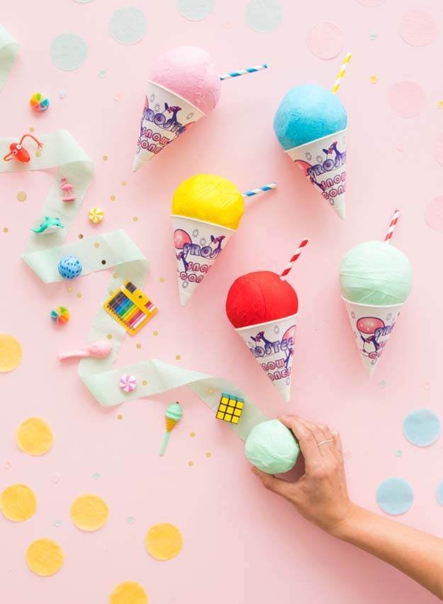 Cheap Crafts - DIY Snowcone Surprise Ball Tutorial - Inexpensive Craft Project Ideas for Teenagers, Teens and Adults - Easy DIY Ideas To Make On A Budget - Cool Dollar Store Crafts and Things You Can Make For Free - Homemade Wall Art and Room Decor, Gifts and Presents, Tutorials and Step by Step Instructions #teencrafts #cheapcrafts #diyideas