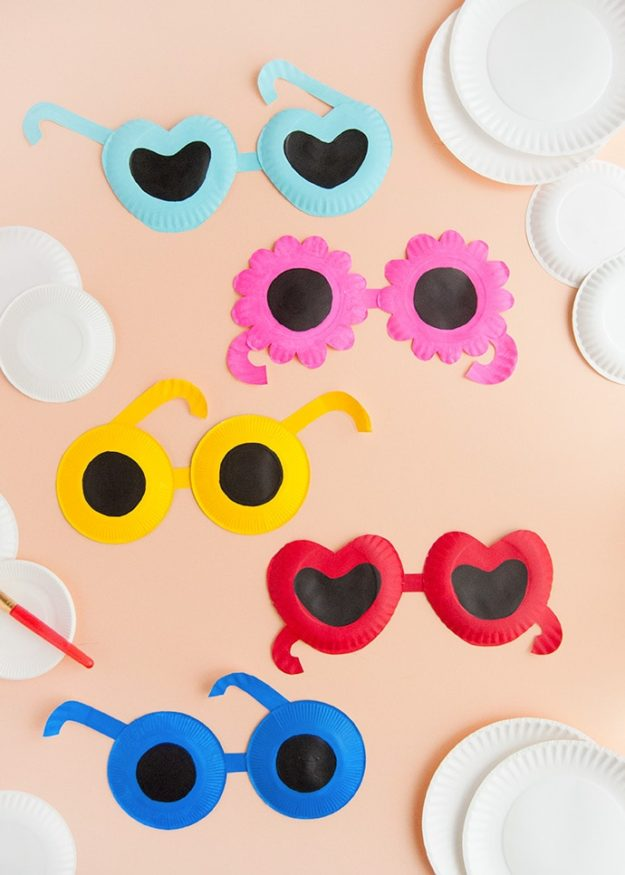 Cheap Crafts - DIY Painted Paper Plate Sunglasses Tutorial - Inexpensive Craft Project Ideas for Teenagers, Teens and Adults - Easy DIY Ideas To Make On A Budget - Cool Dollar Store Crafts and Things You Can Make For Free - Homemade Wall Art and Room Decor, Gifts and Presents, Tutorials and Step by Step Instructions #teencrafts #cheapcrafts #diyideas