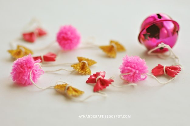 Cheap Crafts - DIY Pasta Garland Tutorial - Cheap DIY Garlands - How to Make A Pasta Garland - Inexpensive Craft Project Ideas for Teenagers, Teens and Adults - Easy DIY Ideas To Make On A Budget - Cool Dollar Store Crafts and Things You Can Make For Free - Homemade Wall Art and Room Decor, Gifts and Presents, Tutorials and Step by Step Instructions #teencrafts #cheapcrafts #diyideas