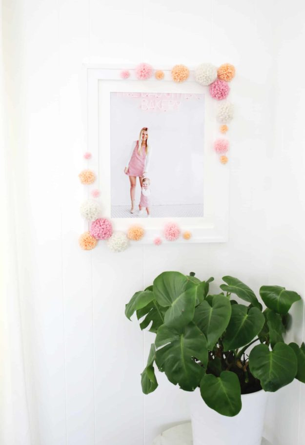 Cheap Crafts - DIY Pom Pom Photo Frame Tutorial - Cute DIY Photo Frames - Inexpensive Craft Project Ideas for Teenagers, Teens and Adults - Easy DIY Ideas To Make On A Budget - Cool Dollar Store Crafts and Things You Can Make For Free - Homemade Wall Art and Room Decor, Gifts and Presents, Tutorials and Step by Step Instructions #teencrafts #cheapcrafts #diyideas