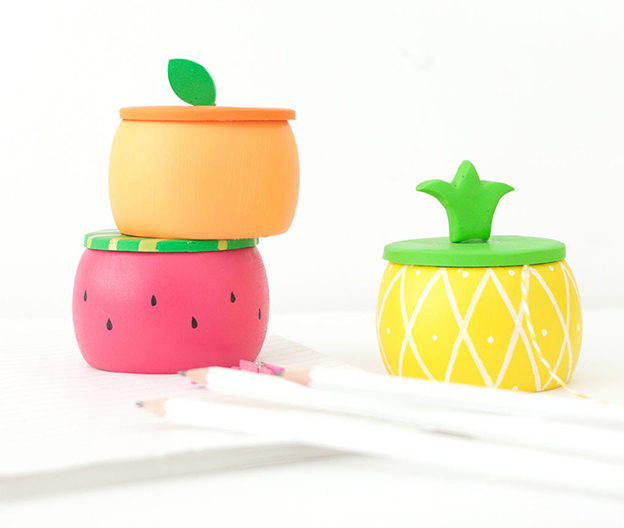 DIY Ideas for Summer - DIY Fruity Wooden Bracelet Trinket Boxes Tutorial - How to Make Cute Trinket Boxes - Cute Summery Crafts to Make and Sell - DIY Summer Crafts, Projects, Decor for Kids, Tweens, Teens, Adults, Seniors - Ideas to Make for Lake, Pool, Outdoors - Creative Things to Make for Summertime - Teen Crafts and DIY Projects #teencrafts #diyideas #craftideasforsummer