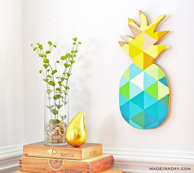 DIY Ideas for Summer - DIY Geometric Painted Pineapple Tutorial - How to Make Pineapple Wall Art - Cute Summery Crafts to Make and Sell - DIY Summer Crafts, Projects, Decor for Kids, Tweens, Teens, Adults, Seniors - Ideas to Make for Lake, Pool, Outdoors - Creative Things to Make for Summertime - Teen Crafts and DIY Projects #teencrafts #diyideas #craftideasforsummer