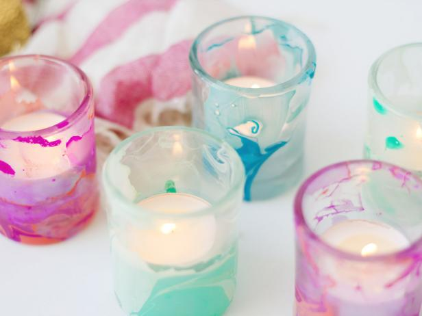 Easy Nail Polish Crafts - DIY Marbled Votives Tutorial - How to Make Marbled Votives - Easy Craft Projects With Nail Polish - Cheap Do It Yourself Gifts, Fun and Quick Art Ideas To Make for Free - Keys, Phone Case, Paintings, Jewelry, Shoes, Clothing, Accessories and Bedroom Decor Ideas - Creative Things for Teens To Make, Teenagers and Tweens - Cute Dorm Room Decor, Things To Make When You Are Bored #teencrafts #diyideas #cheapcrafts