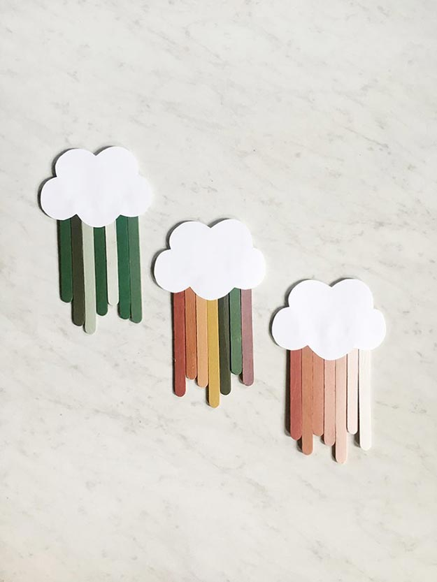 Popsicle Sticks DIY Crafts - DIY Popsicle Stick Clouds Tutorial - Craft Ideas With Popsicle Sticks for Adults - Handmade Craft Ideas to Sell with Instructions and Tutorials - Easy Teen Crafts - DIY Projects for Kids, Teenagers, Adults #craftsforadults #diyprojectstomakeandsell #quickcraftideas #easydiycrafts