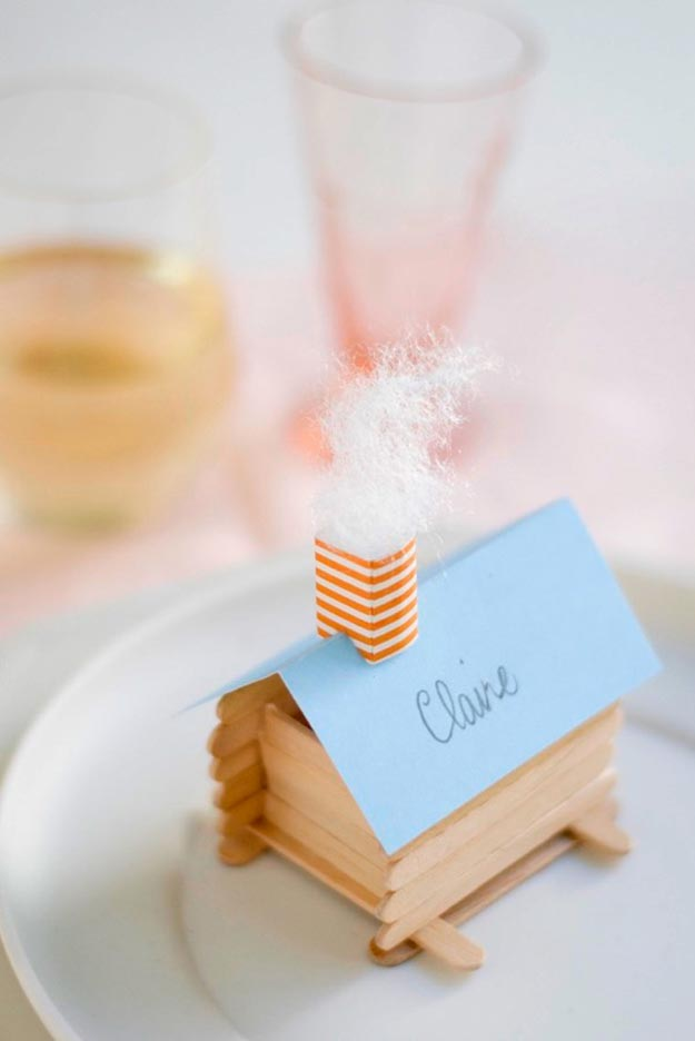 DIY Craft Ideas With Popsicle Sticks - Popsicle Stick Craft Ideas - DIY Log Cabin Place Cards Tutorial - What to Make With Popsicle Sticks - Cheap DIY Craft Ideas to Make at Home - Popsicle Stick Craft Ideas and Inspiration #howtomakepopsiclestickcrafts #diycraftideas #dollarstorecrafts