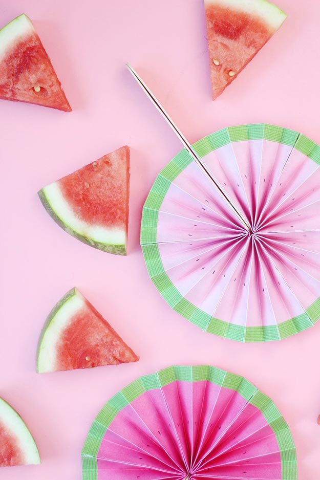 Creative DIY Crafts for Kids to Make at Home - Popsicle Stick Crafts Step by Step - DIY Watermelon Paper Fan Tutorial - How to Make a Paper Fan Out Of Popsicle Sticks - Cheap Craft Ideas for Boys, Girls, Teens - How to Make Popsicle Stick Crafts - Popsicle Stick Art - Easy Summertime Crafts #kidcrafts #diyprojects #popsiclestickcraftideas