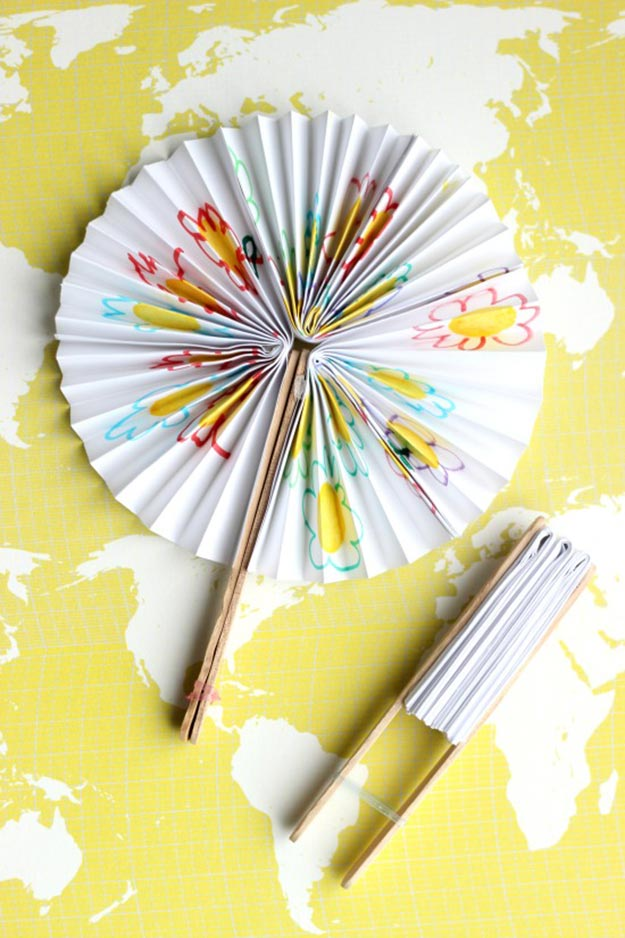 Popsicle Sticks DIY Crafts - DIY Popsicle Stick Paper Fans Tutorial - DIY Paper Fans Tutorial - How to Make Paper Fans With Popsicle Sticks - Craft Ideas With Popsicle Sticks for Adults - Handmade Craft Ideas to Sell with Instructions and Tutorials - Easy Teen Crafts - DIY Projects for Kids, Teenagers, Adults #craftsforadults #diyprojectstomakeandsell #quickcraftideas #easydiycrafts