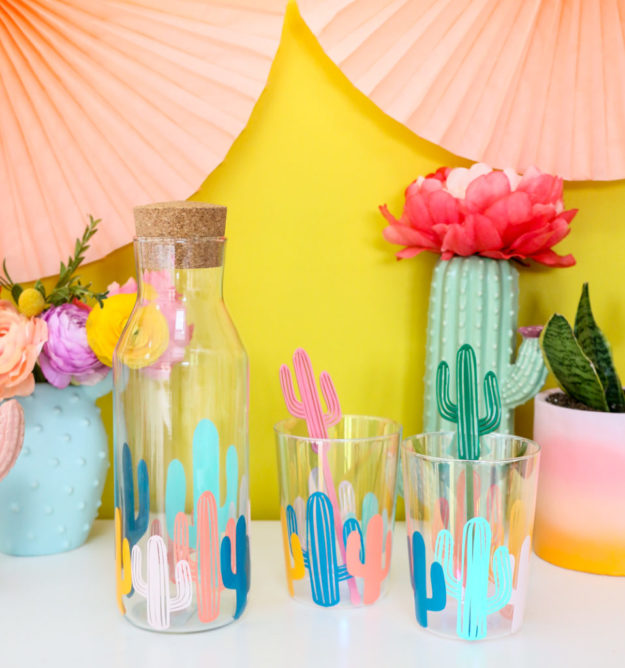 Crafts To Make and Sell For Teens - DIY Colorful Cactus Glass Tutorial - Easy Craft Project Ideas To Make for Selling On Etsy and Online - Cool Ideas and DIY Ideas You Can Sell On Etsy - Fun and Cheap Do It Yourself Projects for Teenagers to Make Extra Money This Summer #teencrafts #craftstomakeandsell #diyideas