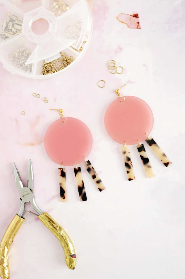 Crafts To Make and Sell For Teens - DIY Geometric Acrylic Earring Tutorial - How to Make Acrylic Earrings - Easy Craft Project Ideas To Make for Selling On Etsy and Online - Cool Ideas and DIY Ideas You Can Sell On Etsy - Fun and Cheap Do It Yourself Projects for Teenagers to Make Extra Money This Summer #teencrafts #craftstomakeandsell #diyideas