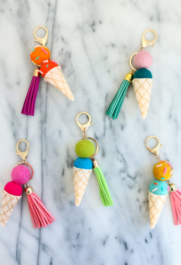 Crafts To Make and Sell For Teens - DIY Felt Ice Cream Cone Keychain Tutorial - Cute DIY Keychain Ideas - How to Make an Ice Cream Key Chain - Easy Craft Project Ideas To Make for Selling On Etsy and Online - Cool Ideas and DIY Ideas You Can Sell On Etsy - Fun and Cheap Do It Yourself Projects for Teenagers to Make Extra Money This Summer #teencrafts #craftstomakeandsell #diyideas