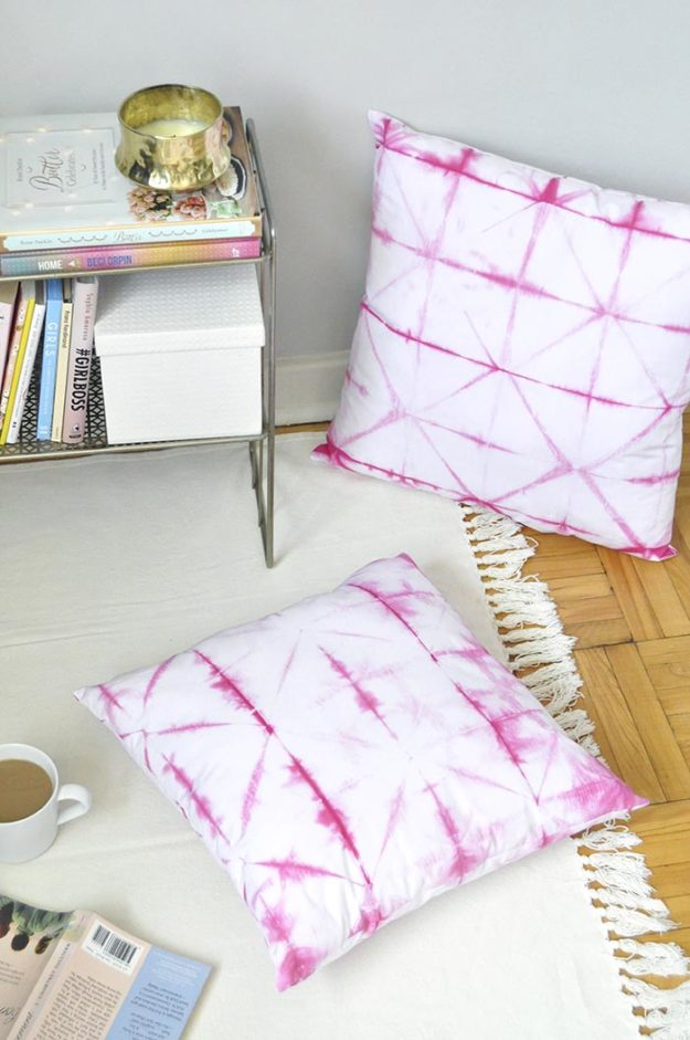 Crafts To Make and Sell For Teens - DIY Pink Shibori Cushion Tutorial - How to Make Shibori Cushions - Easy Craft Project Ideas To Make for Selling On Etsy and Online - Cool Ideas and DIY Ideas You Can Sell On Etsy - Fun and Cheap Do It Yourself Projects for Teenagers to Make Extra Money This Summer #teencrafts #craftstomakeandsell #diyideas