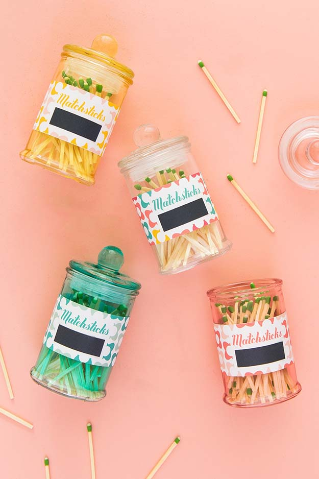 Jar Gift Ideas - DIY Matchstick Jars Tutorial - Food, Cookie, Birthday Gifts in A Jar Ideas - Easy and Quick Last Minute Gift Ideas for Hostess - Simple Gift ideas to Make for A Teenager - Gifts in A Jar Recipes - Easy Teen Crafts - Mason Jar Gifts For Friends