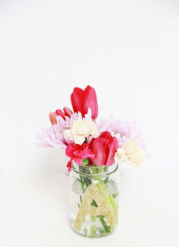 Jar Gift Ideas - DIY Monogram Flower Jars - Food, Cookie, Birthday Gifts in A Jar Ideas - Easy and Quick Last Minute Gift Ideas for Hostess - Simple Gift ideas to Make for A Teenager - Gifts in A Jar Recipes - Easy Teen Crafts - Mason Jar Gifts For Friends