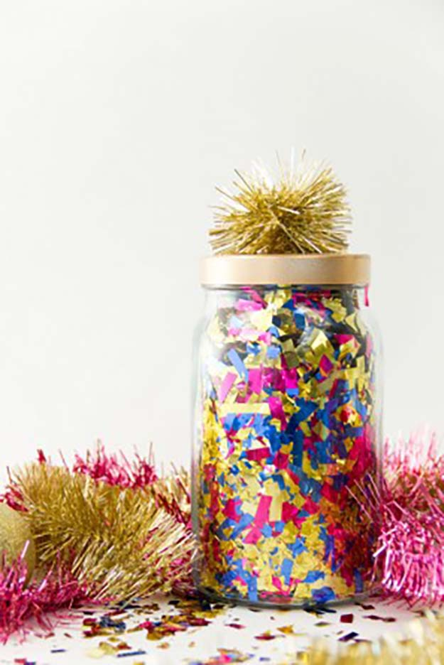 Jar Gift Ideas - DIY Confetti Surprise Jars - Food, Cookie, Birthday Gifts in A Jar Ideas - Easy and Quick Last Minute Gift Ideas for Hostess - Simple Gift ideas to Make for A Teenager - Gifts in A Jar Recipes - Easy Teen Crafts - Mason Jar Gifts For Friends