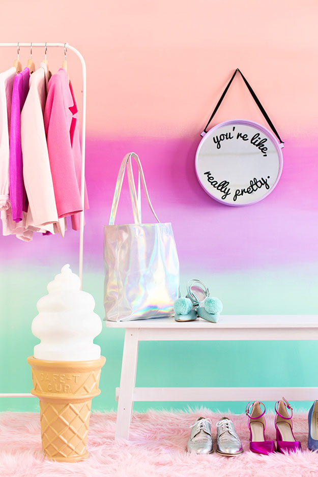 Painting Ideas for Room - DIY Ombre Wall Tutorial - How to Paint an Ombre Wall - Easy Painting Ideas for Walls - Ways to Paint Walls - Wall Paint Inspiration - Teen Room Decor Ideas #teencrafts #paintwalls #diyideas