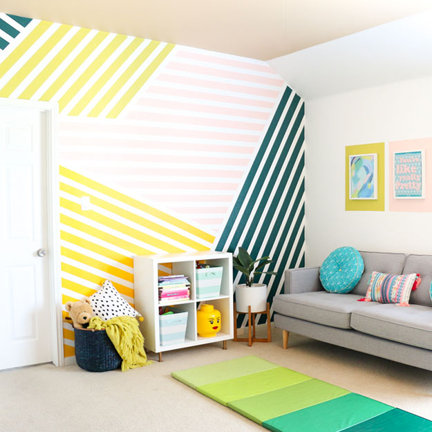 Painting Ideas for Room - DIY Colorful Striped Wall Tutorial - How to Paint a Striped Wall - Easy Painting Ideas for Walls - Ways to Paint Walls - Wall Paint Inspiration - Teen Room Decor Ideas #teencrafts #paintwalls #diyideas