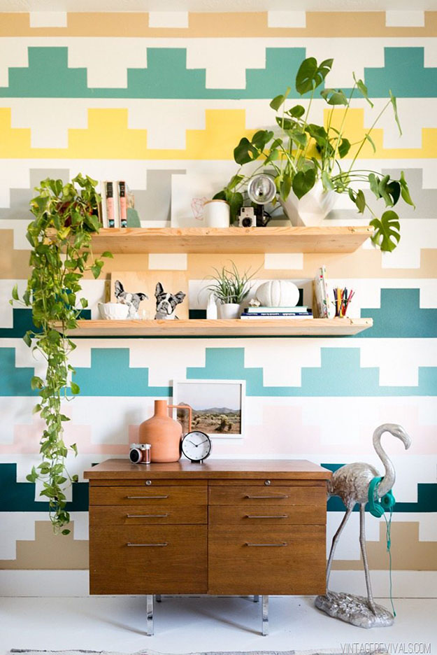 Painting Ideas for Room - DIY Geometric Wall Pattern Tutorial - Easy Painting Ideas for Walls - Ways to Paint Walls - Wall Paint Inspiration - Teen Room Decor Ideas #teencrafts #paintwalls #diyideas