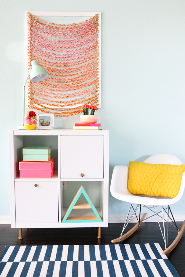 Cool Wall Art Ideas for Teens - How to Make Woven Wall Art - DIY Faux Woven Wall Art Tutorial - Cheap and Easy DIY Canvas Projects, Paintings and Arts and Crafts for Bedroom Walls - Inexpensive, Quick Project Tutorials for String Art, Crayon, Yarn, Paint Chip, Boho, Simple and Modern Decor for Teens, Teenagers and Tweens - Colorful and Creative Paint, Glue and Mod Podge Craft Idea #teencrafts #diyideas #roomdecor