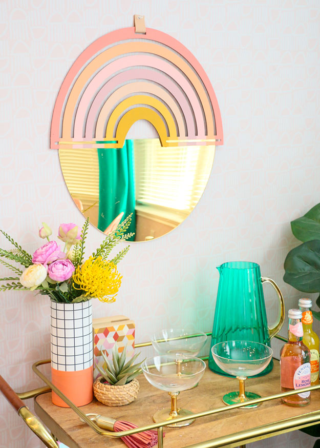 Cool Wall Art Ideas for Teens - DIY Gold and Rainbow Mirror Tutorial - Cheap and Easy DIY Canvas Projects, Paintings and Arts and Crafts for Bedroom Walls - Inexpensive, Quick Project Tutorials for String Art, Crayon, Yarn, Paint Chip, Boho, Simple and Modern Decor for Teens, Teenagers and Tweens - Colorful and Creative Paint, Glue and Mod Podge Craft Idea #teencrafts #diyideas #roomdecor