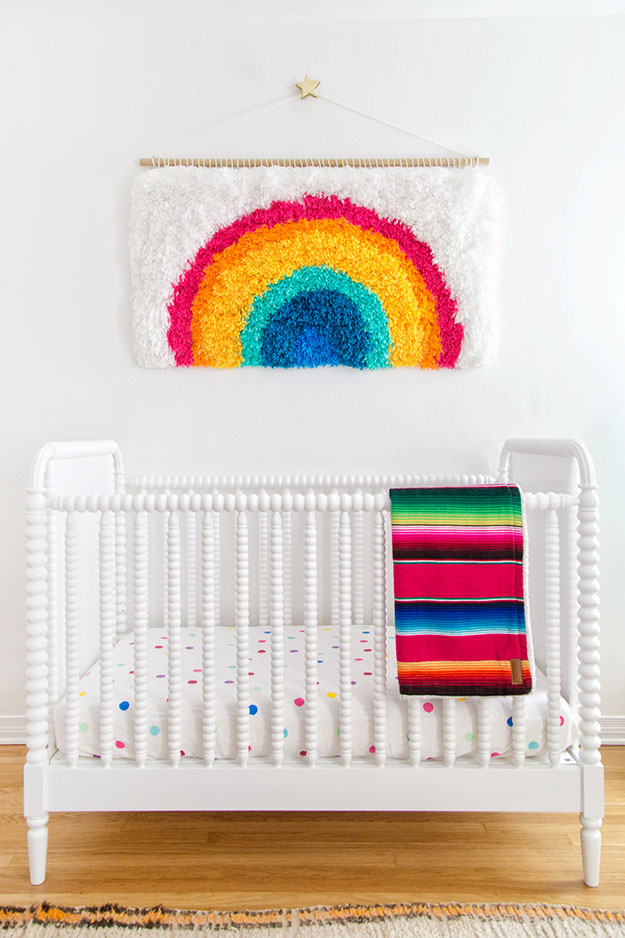 Cool Wall Art Ideas for Teens - How to Make A Wall Hanging - DIY Rainbow Wall Hanging Tutorial - Cheap and Easy DIY Canvas Projects, Paintings and Arts and Crafts for Bedroom Walls - Inexpensive, Quick Project Tutorials for String Art, Crayon, Yarn, Paint Chip, Boho, Simple and Modern Decor for Teens, Teenagers and Tweens - Colorful and Creative Paint, Glue and Mod Podge Craft Idea #teencrafts #diyideas #roomdecor