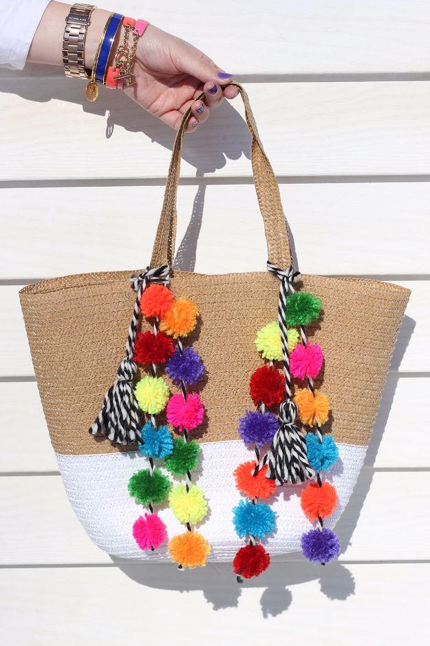 DIY Pom Pom Crafts - How to Make a Rainbow Pom Pom Bag - Creative DYI Gifts for Teens