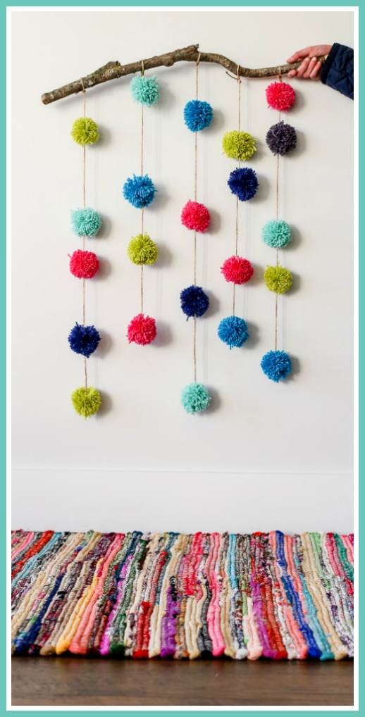 Pom Pom Crafts - Easy DIY Room Decor Ideas for Decorating Bedroom Walls