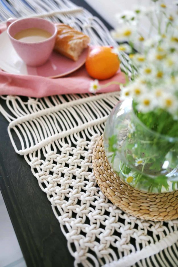 Dollar Store Crafts - DIY Macrame Table Runner Tutorial - How to Make a Macrame Table Runner - Easy DIY Dollar Tree Crafts - Cheap DIY Projects for Teenagers, Room, Decor, and Gifts - Dollar Tree Crafts to Make and Sell, at Home - Handmade Craft Ideas to Sell with Instructions and Tutorials - Easy Teen Crafts #teencrafts #diyideas #dollarstorecrafts