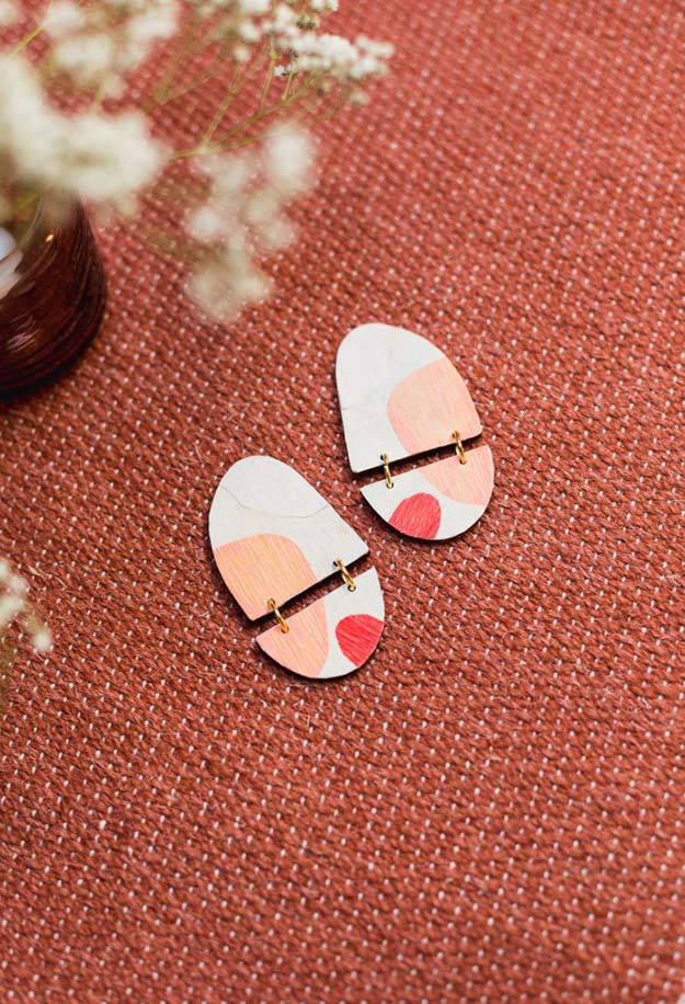 DIY Jewelry Ideas - DIY Applique Wooden Earrings Tutorial - How to Make Wooden Earrings - How to Make Your Own Jewelry - Jewelry Making Ideas for Beginners - Handmade Craft Ideas to Sell with Step by Step Instructions  - Easy Teen Crafts #teencrafts #diyideas #diyjewelry