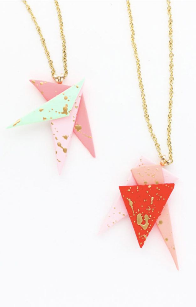 DIY Jewelry Ideas - DIY Asymmetric Gold Splatter Paint Necklace Tutorial - How to Make a Splatter Paint Necklace - How to Make Your Own Jewelry - Jewelry Making Ideas for Beginners - Handmade Craft Ideas to Sell with Step by Step Instructions  - Easy Teen Crafts #teencrafts #diyideas #diyjewelry