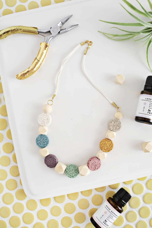 DIY Jewelry Ideas - DIY Lava Stone Necklace Tutorial - How to Make an Essential Oil Diffuser Necklace - How to Make Your Own Jewelry - Jewelry Making Ideas for Beginners - Handmade Craft Ideas to Sell with Step by Step Instructions  - Easy Teen Crafts #teencrafts #diyideas #diyjewelry