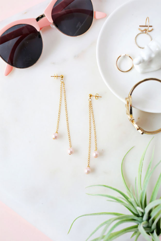 DIY Jewelry Ideas - DIY Pearl Dangle Earrings Tutorial - How to Make Pearl Earrings at Home - How to Make Your Own Jewelry - Jewelry Making Ideas for Beginners - Handmade Craft Ideas to Sell with Step by Step Instructions  - Easy Teen Crafts #teencrafts #diyideas #diyjewelry