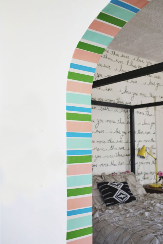 Washi Tape Crafts - DIY Washi Tape Stripe Doorway Tutorial - How to Makeover Walls With Washi Tape - Simple, Easy DIY Ideas To Make With Washi Tape - Organizers, Cute Gifts, Cheap Wall Art, Fun and Quick Things To Make For Friends - Cute Ideas for Teens, Adults, Kids and Tweens to Make at Home #teencrafts #diyideas #washitapecrafts