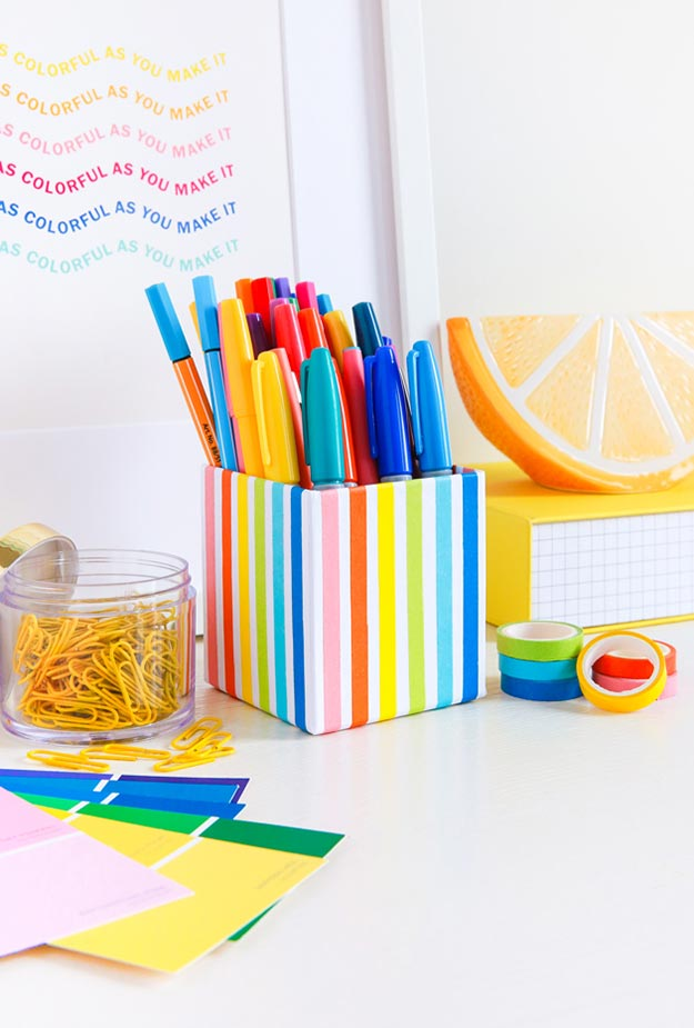 Washi Tape Crafts - DIY Rainbow Pencil Cup Tutorial - How to Make a Pencil Cup - Simple, Easy DIY Ideas To Make With Washi Tape - Organizers, Cute Gifts, Cheap Wall Art, Fun and Quick Things To Make For Friends - Cute Ideas for Teens, Adults, Kids and Tweens to Make at Home #teencrafts #diyideas #washitapecrafts